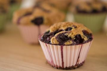 Honey Bran Blueberry Muffins