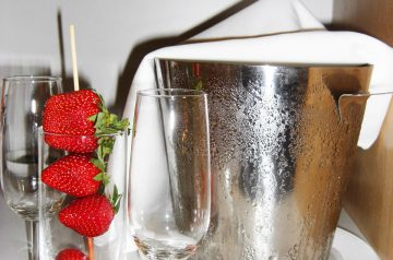 Strawberries With Champagne and Roses