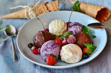 Warm Berries With Ice Cream