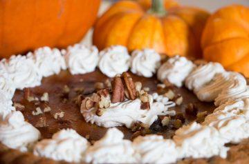 Orange Crusted Pumpkin Pie with Bourbon Whipped Cream