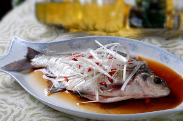 Chinese Steamed Whole Fish With Green Onion and Ginger
