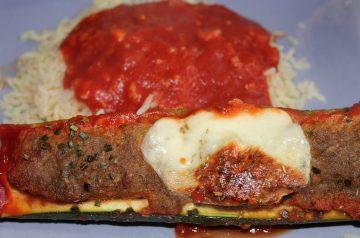 Vegetarian  Greek Stuffed Zucchini