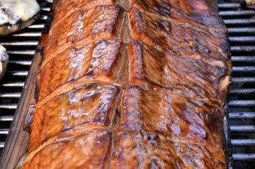 Alder Planked Salmon With Soy Ginger Marinade