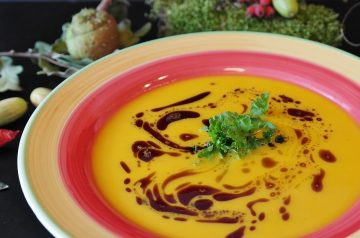 Low Fat Pumpkin and Double Potato Soup in Microwave